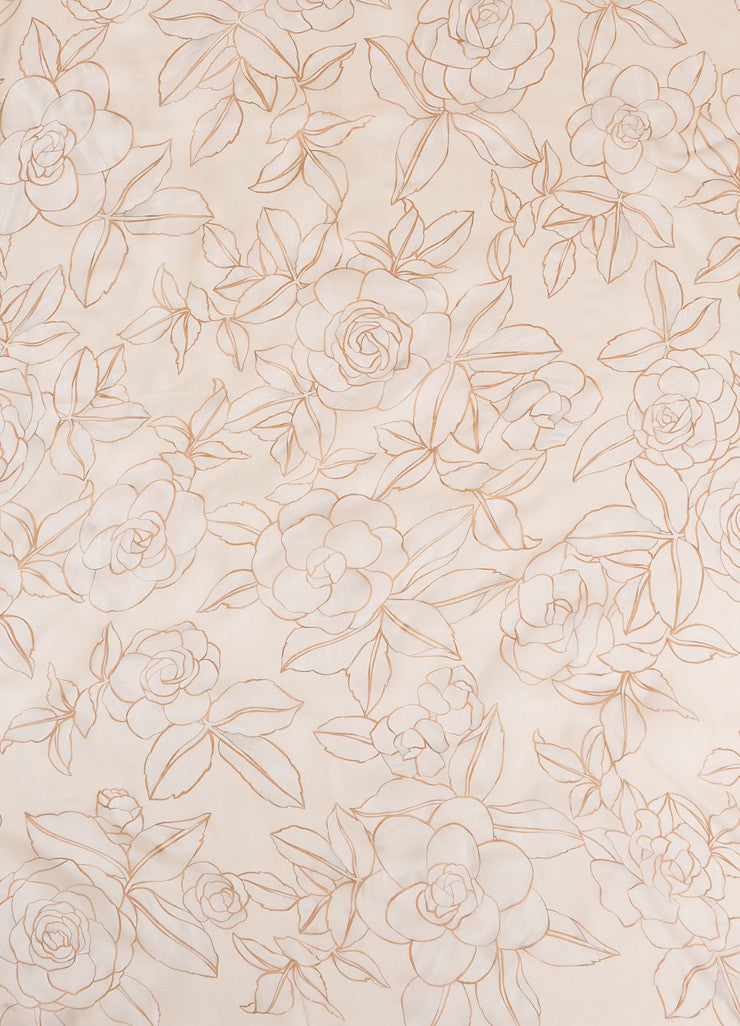 Chanel Cream and Taupe Floral Print Semi-Sheer Silk Scarf Detail 2