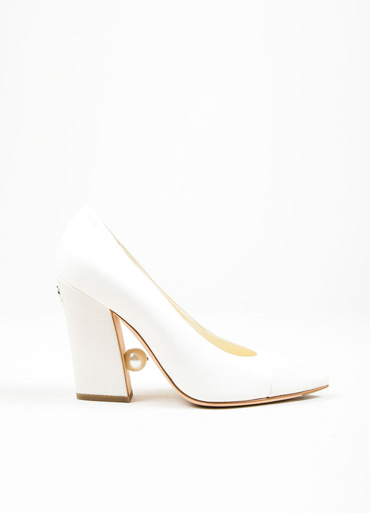 Ivory White Chanel Leather and Satin Grosgrain Faux Pearl Pointed Toe Pumps Sideview