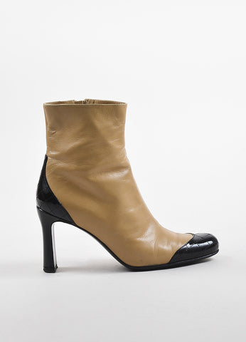 Chanel Light Beige and Black Patent Leather Quilted Cap Toe Short Boots Sideview