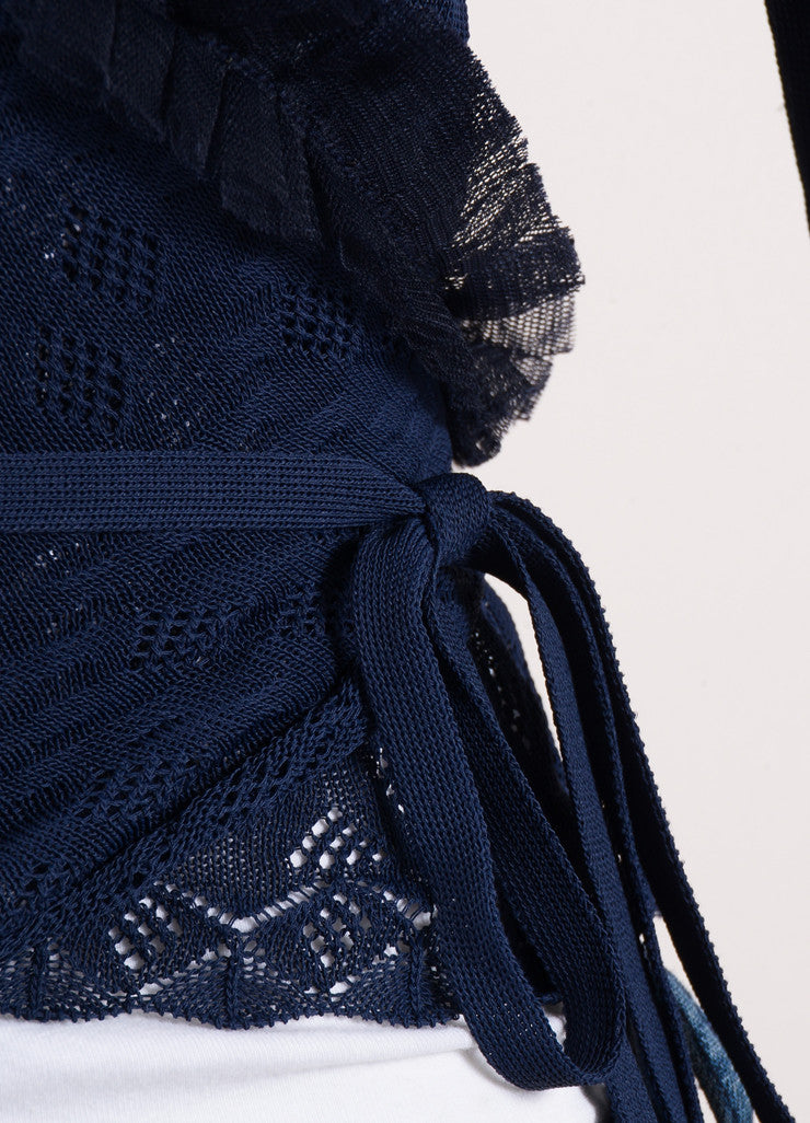 "Chanel Navy Blue Knit Tulle Ruffle Trim ""CC"" Logo Wrap Tie Cropped Sweater Detail"