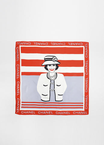 "Red, Cream, and Grey Chanel Silk Square ""Coco"" Portrait Print Scarf Frontview 2"