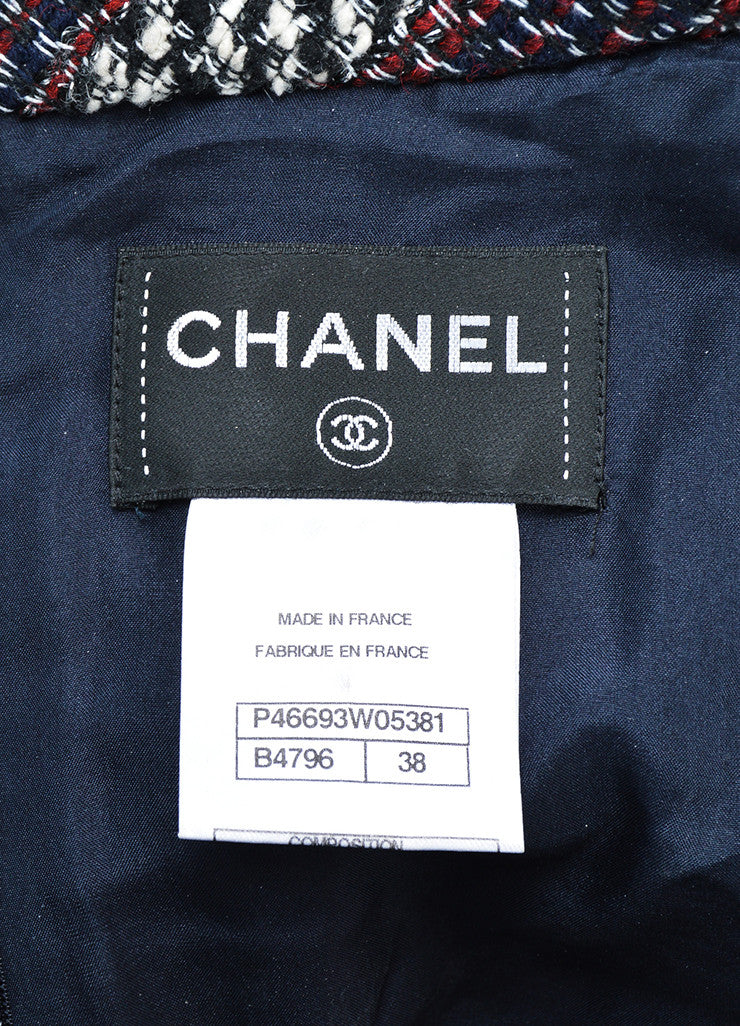 Chanel Red, White, and Blue Wool Blend Tweed Striped Dress and Attached Jacket Brand