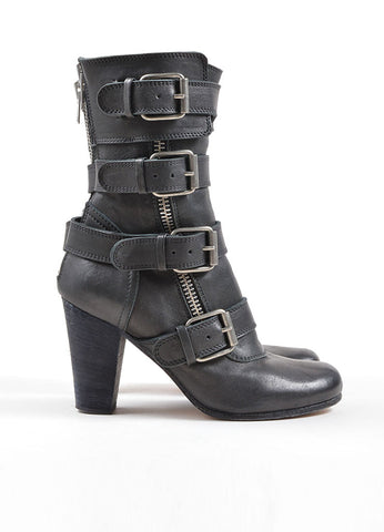 Chloe Black Leather Buckle Zip Up Mid Calf Motorcyle Boots Sideview