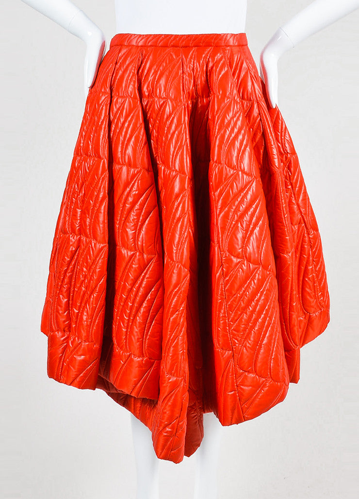 Red Christian Dior Quilted Nylon Angled Pleated Skirt Frontview