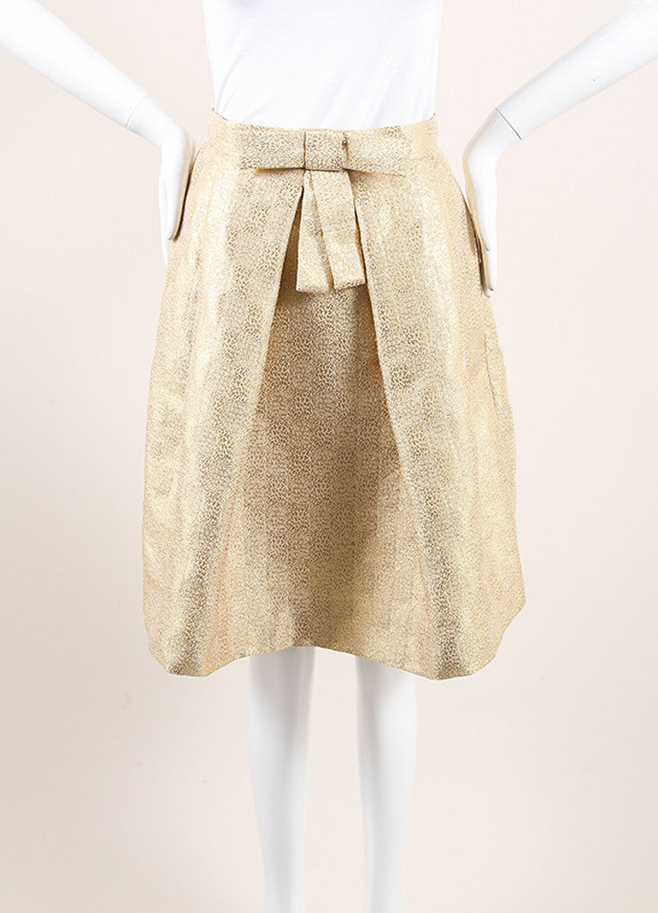Christian Dior New With Tags Gold Metallic Pleated Bow Skirt Frontview