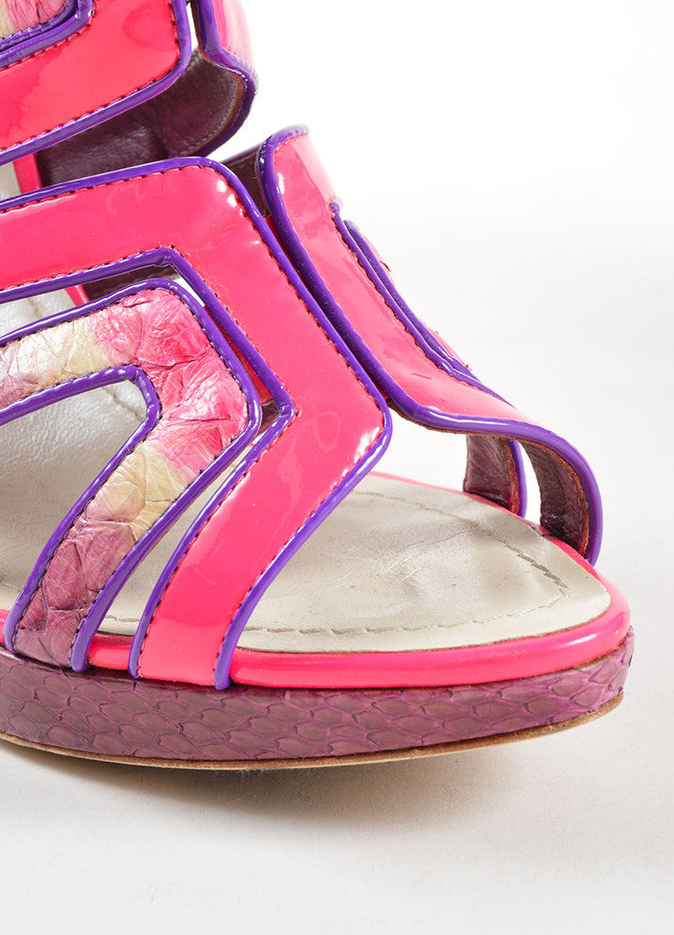 Christian Dior Pink and Purple Lizard and Patent Leather High Heel Cage Sandals Detail