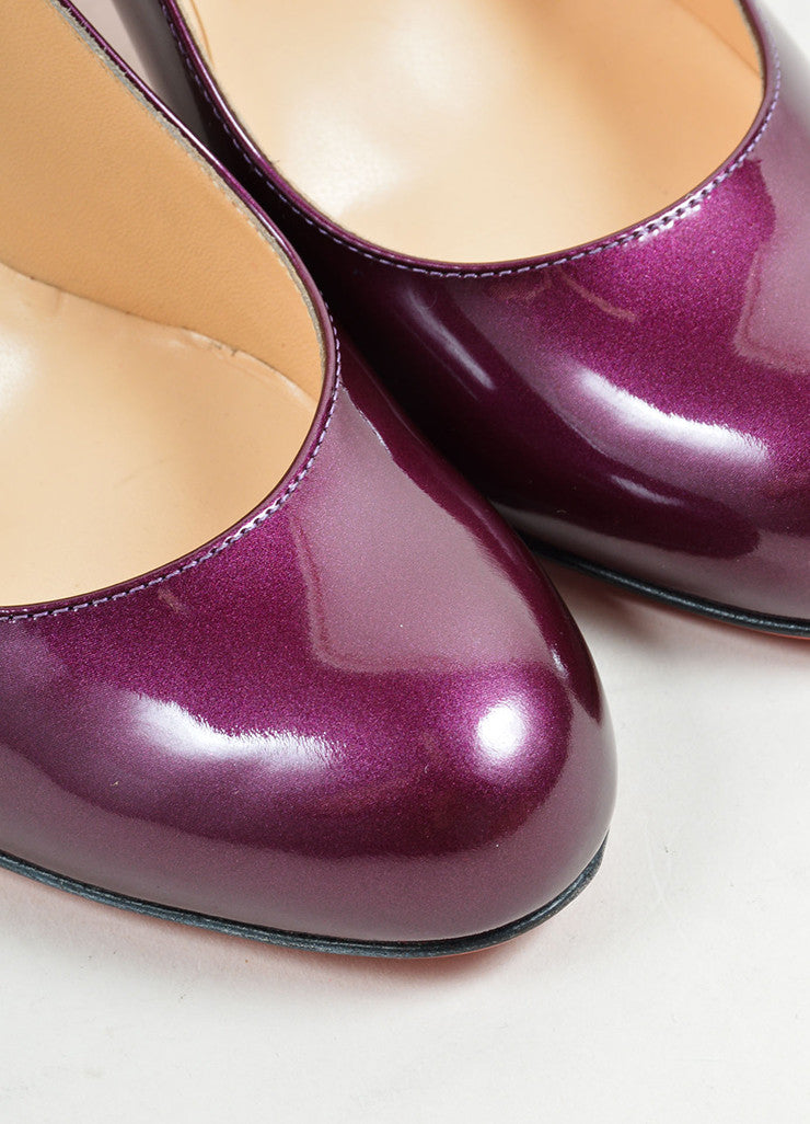 "Christian Louboutin Purple ""Amethyst"" Patent Leather ""Simple"" Pumps Detail"