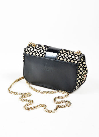 "Black and Gold Metallic Christian Louboutin Chain Strap ""Sweet Charity"" Evening Bag Backview"