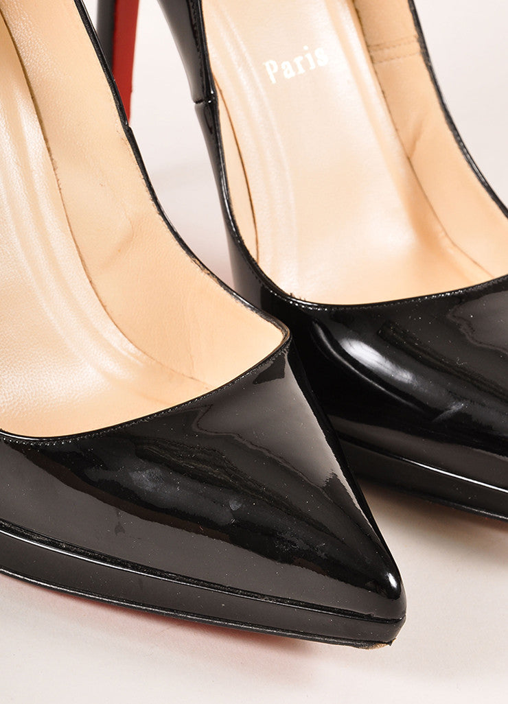 "Christian Louboutin Black Patent Leather ""Pigalle Plato 120mm"" Pumps Detail"