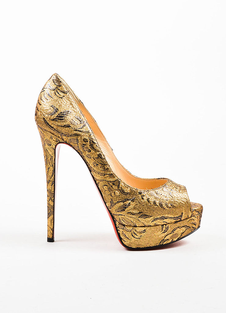 "Christian Louboutin Gold Brocade ""Lady Peep"" Platform Pumps Sideview"