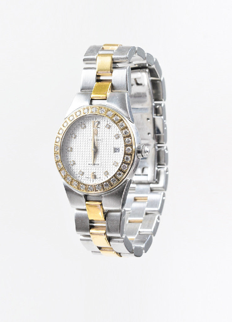 "Concord Stainless Steel 18K Gold Diamond ""Mariner"" Two Tone Bracelet Watch Sideview"