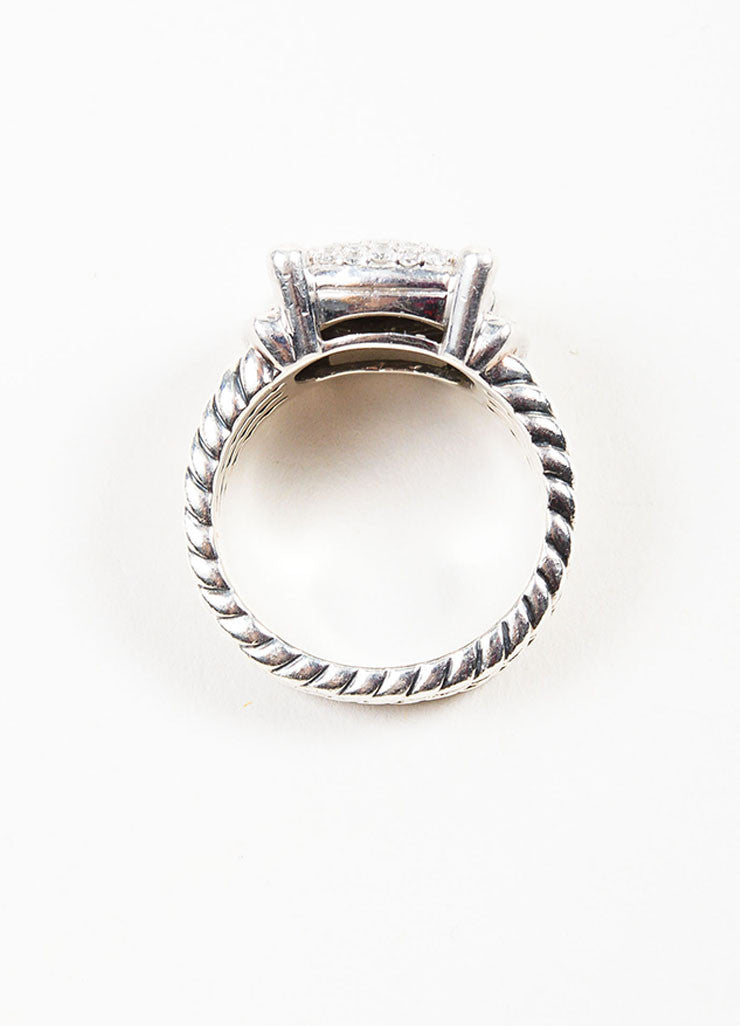 "Sterling Silver and Pave Diamond David Yurman ""Wheaton"" Cable Ring Topview"