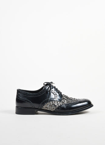 Black and Gunmetal Dolce & Gabbana Leather Studded Lace Up Oxfords Sideview