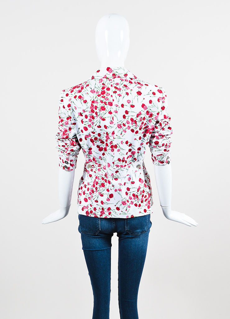 Dolce & Gabbana White and Pink Twill Carnation Floral Print  Blazer Jacket Backview