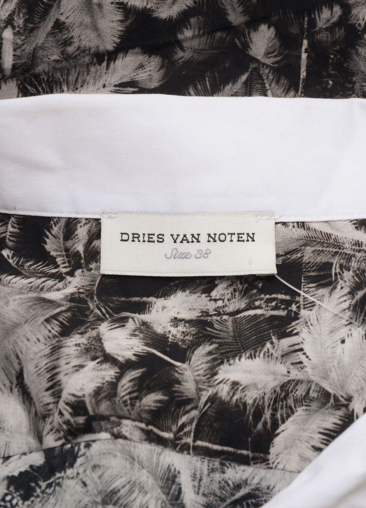 Dries Van Noten Black and White Cotton Palm Tree Print Button Down Long Sleeve Top Brand