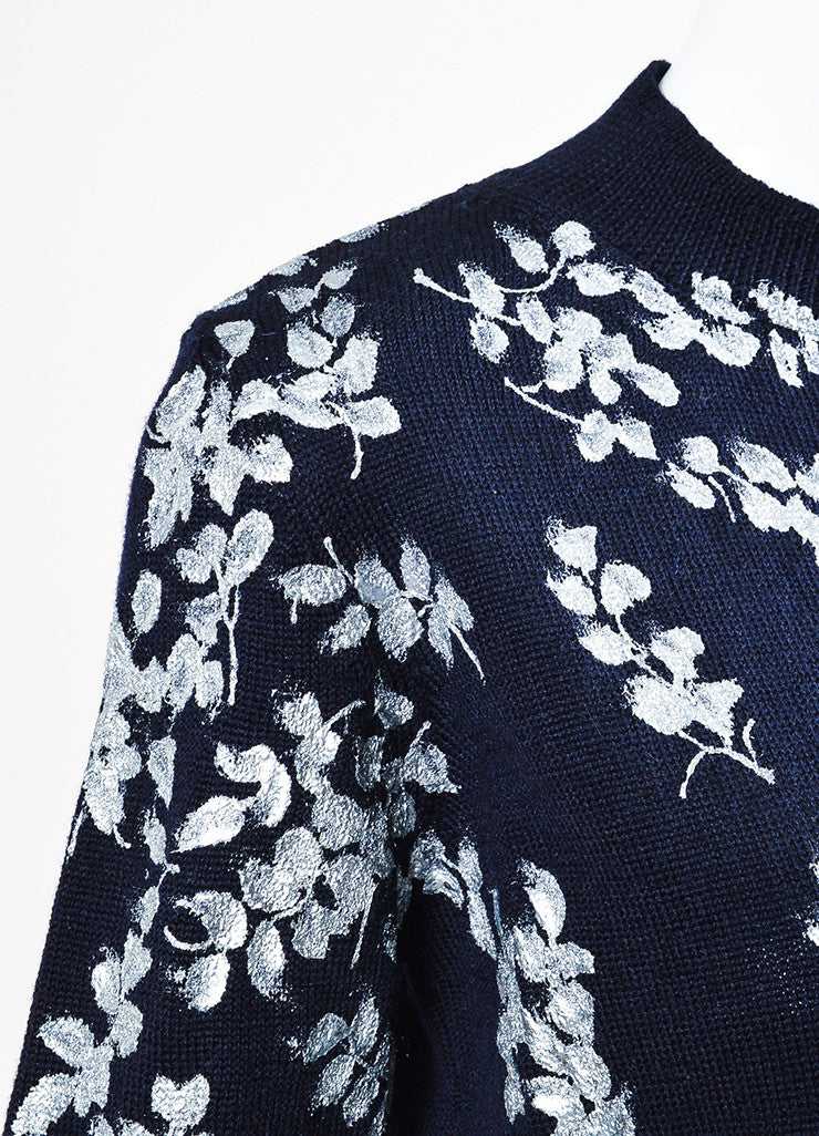 Dries van Noten Navy Blue and Metallic Wool Painted Flower Sweater Detail