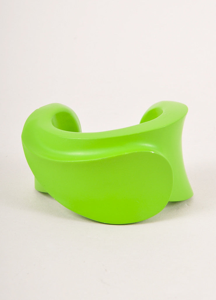 Emilio Pucci Lime Green Structured Painted Wooden Chunky Cuff Bracelet Frontview