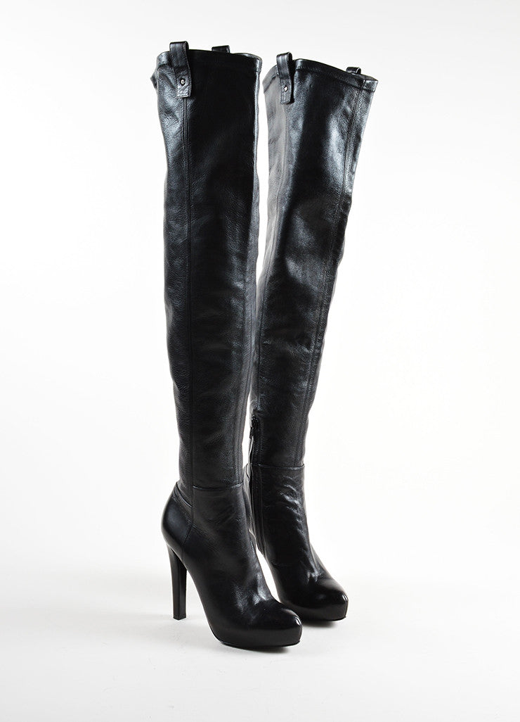Ermanno Scervino Black Leather Over The Knee Platform Heeled Boots Frontview