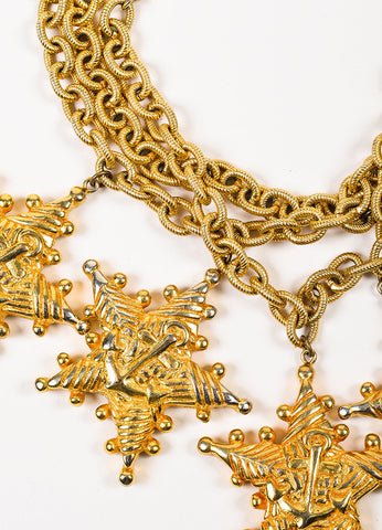 Escada Gold Toned Triple Link Chain Oversized Nautical Star Charm Choker Necklace Detail