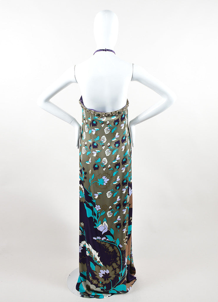 Escada Multicolor Silk Floral Print Rhinestone Beaded Halter Gown Backview