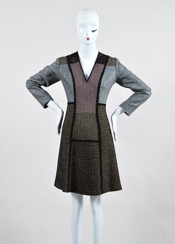 Brown and Black Etro Wool Tweed Patchwork V Neck Long Sleeve Sheath Dress Frontview
