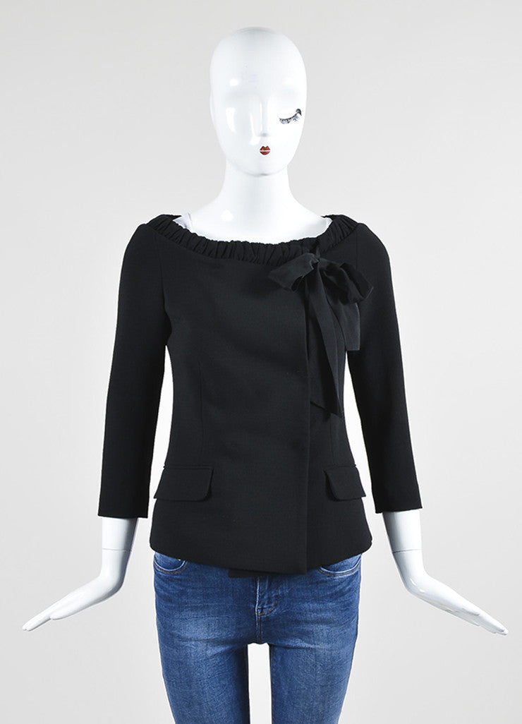 Black Fendi Crepe Cropped Sleeve Boat Neck Tie Collar Wrap Tailored Top Frontview