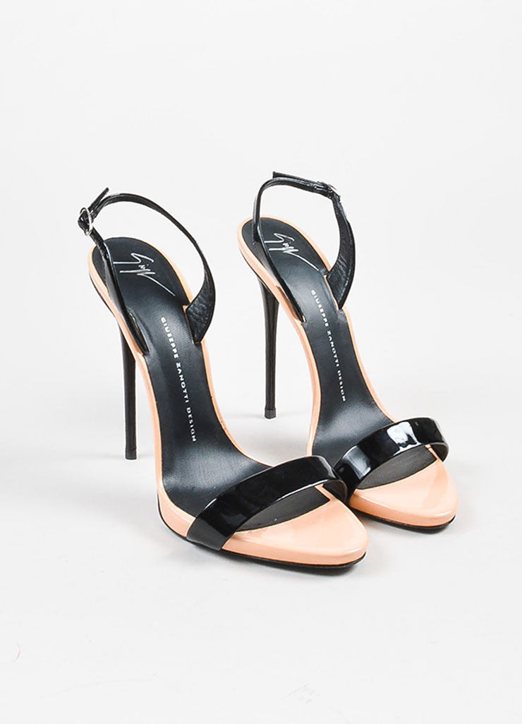Giuseppe Zanotti Peach and Black Patent Leather Sandal Heels  Frontview