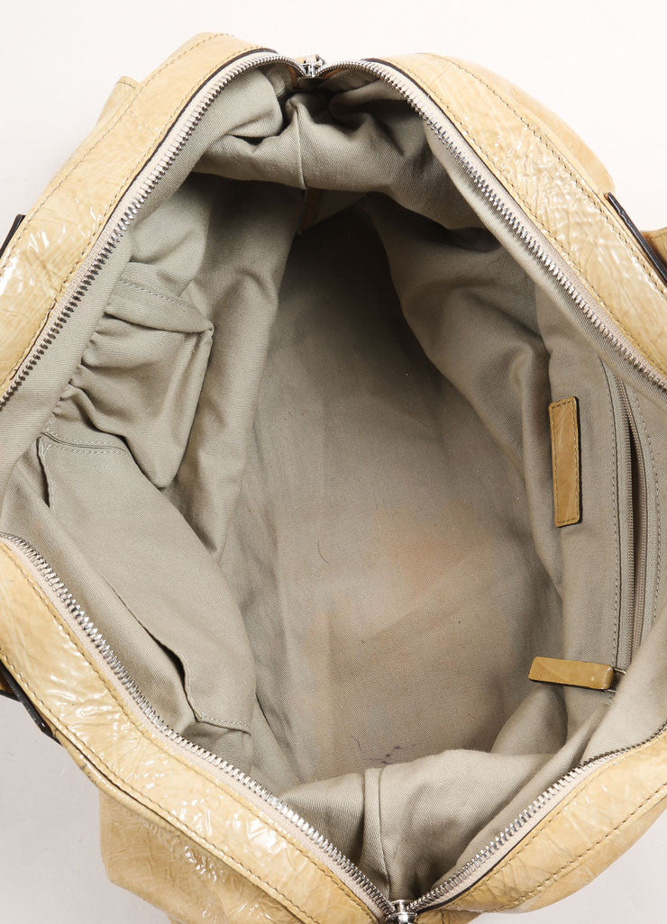 "Givenchy Beige Crinkled Patent Leather Large ""Nightingale"" Tote Bag Interior"