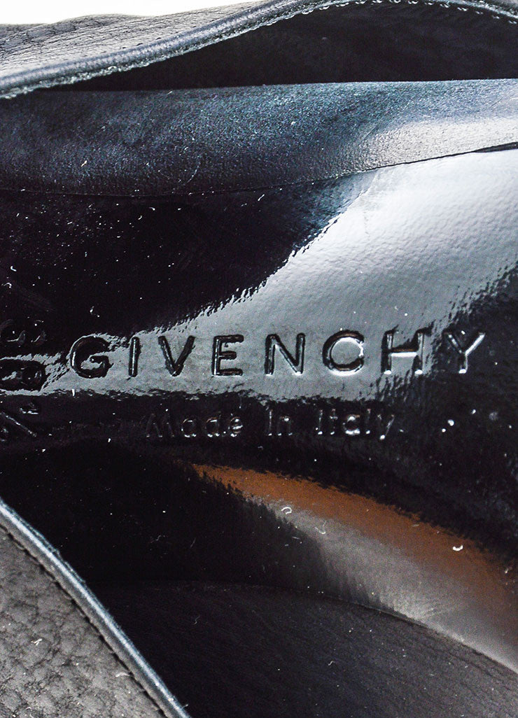 Givenchy Black Leather Fold Over Cord Wrap Heeled Booties- brand