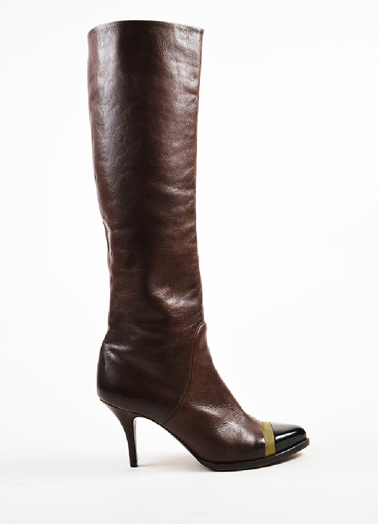 Givenchy Brown Leather Patent Cap Toe Mesh Stripe Pointed Knee High Boots Sideview