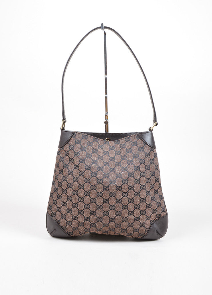 Gucci Brown Monogram Canvas and Leather Shoulder Bag Frontview
