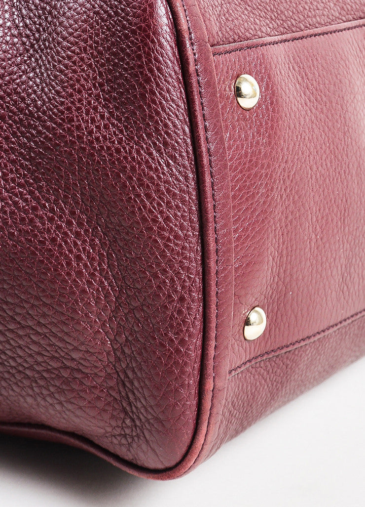 "Maroon Gucci Leather Embossed 'GG' Tassel ""Soho Working"" Tote Bag Detail"