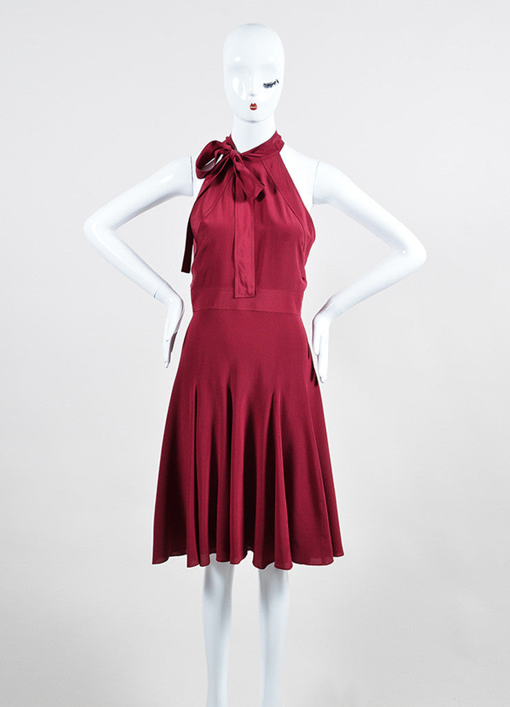 Burgundy Gucci Silk Neck Tie Bow Flare Godet Dress Frontview