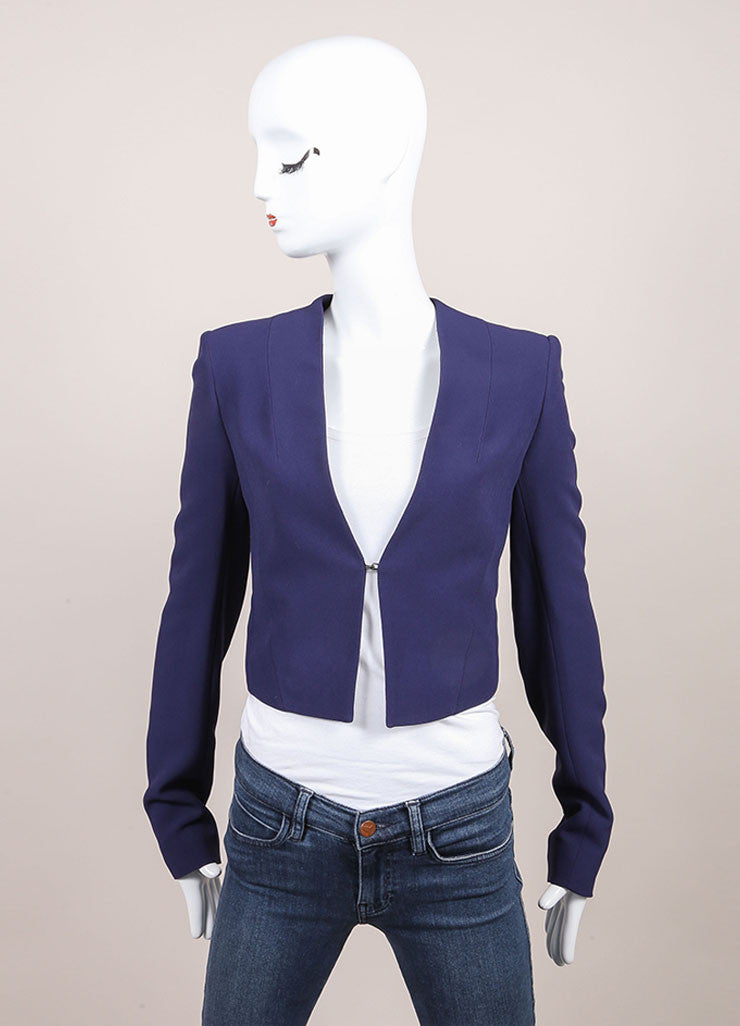 "Haider Ackermann New With Tags Navy Blue Cropped Long Sleeve ""Coronus"" Suiting Jacket Frontview"