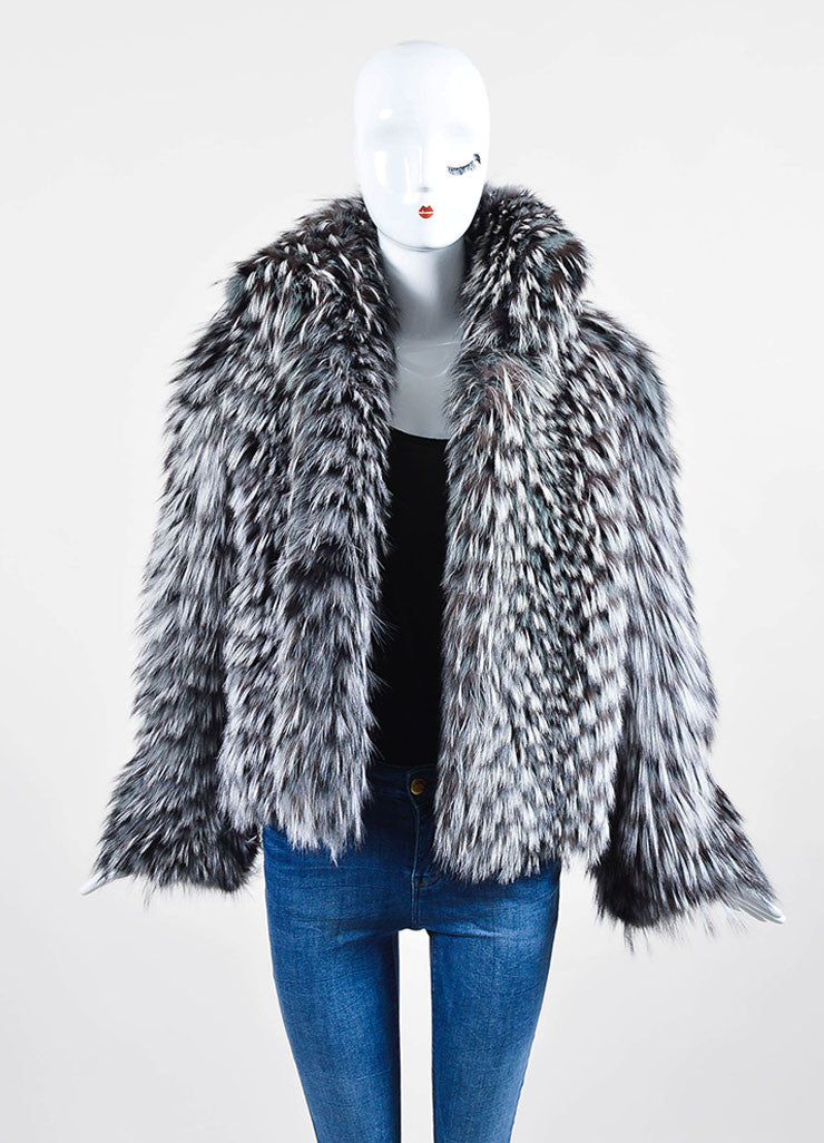 Grey Halston Long Mottled Fox Fur Long Sleeve Short Coat Frontview
