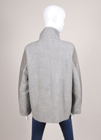 Helmut Lang New With Tags Grey Leather and Wool Paneled Funnel Neck Zip Coat Backview