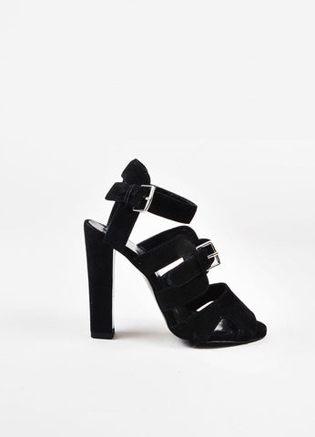 Hermes Black Suede Buckled Open Toe Cage Sandals Sideview