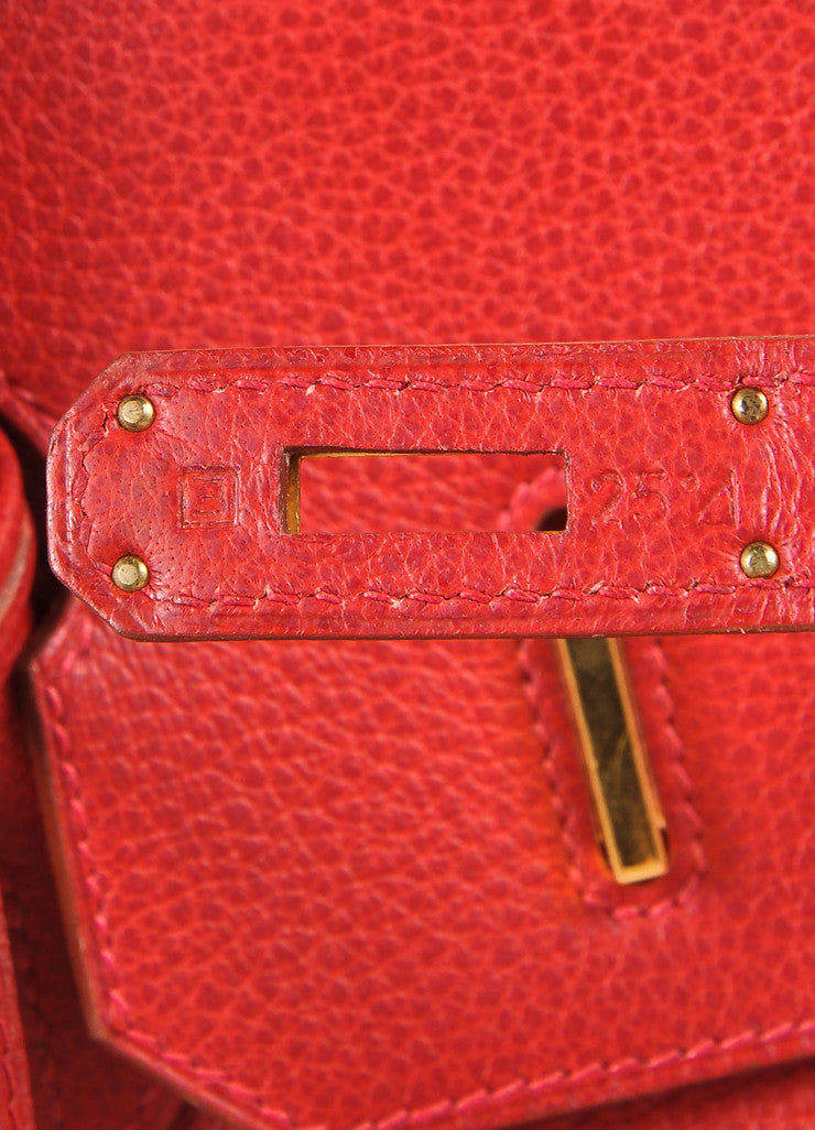"Hermes Red and Gold Toned ""Rouge Garance"" Buffalo Skipper Leather 35cm Birkin Bag Detail 7"