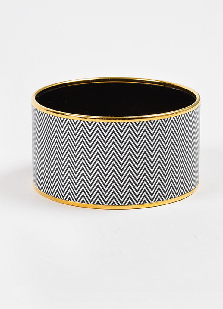 "Gold Toned, White, and Black Hermes Enamel ""Chevrons"" Extra Wide Bangle Bracelet  Frontview"