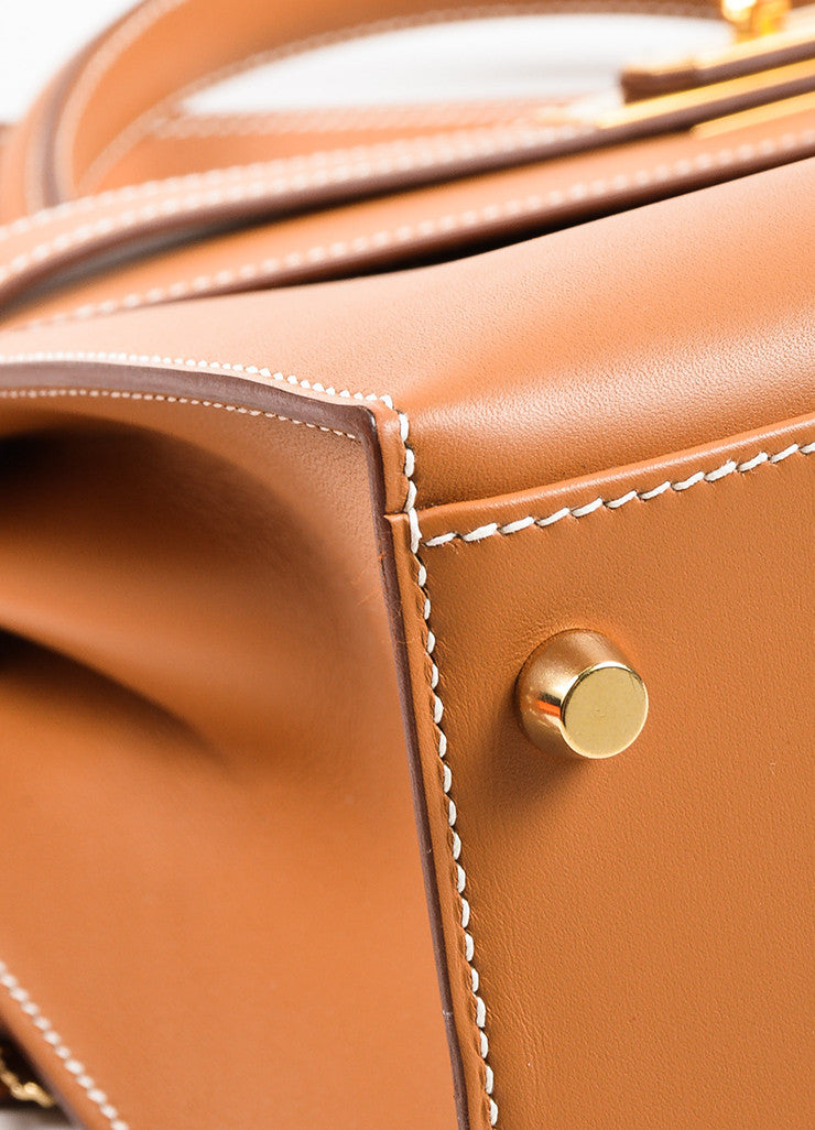 "Hermes Natural Tan Chamonix Leather Gold Toned Hardware ""Kelly 32cm"" Bag Detail"