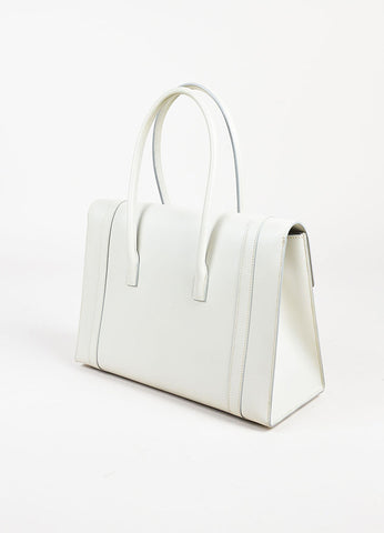 "Hermes ""Pearl Grey"" and Silver Toned Chamonix Leather 'H' Clasp ""Drag"" 32cm Bag Sideview"