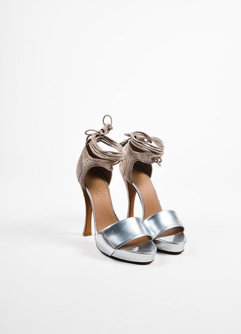 Hermes Silver Toned Leather and Taupe Suede Ankle Wrap High Heel Sandals Frontview