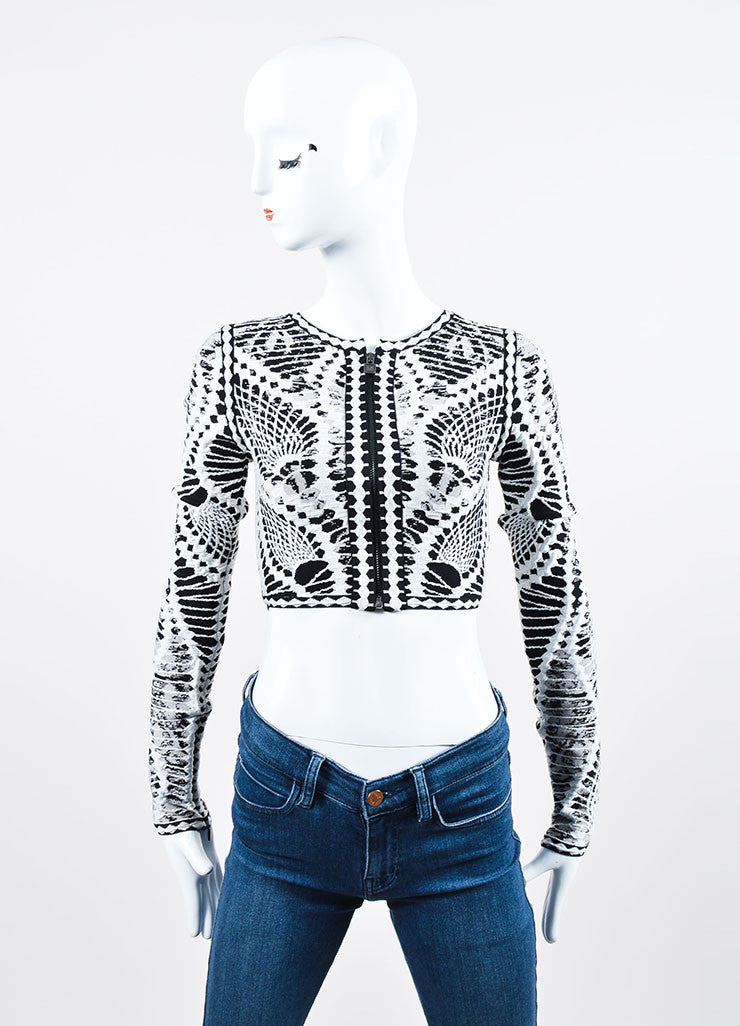 "Black and White Herve Leger Stretch Knit Zip ""Imogen"" Long Sleeve Crop Top Frontview"