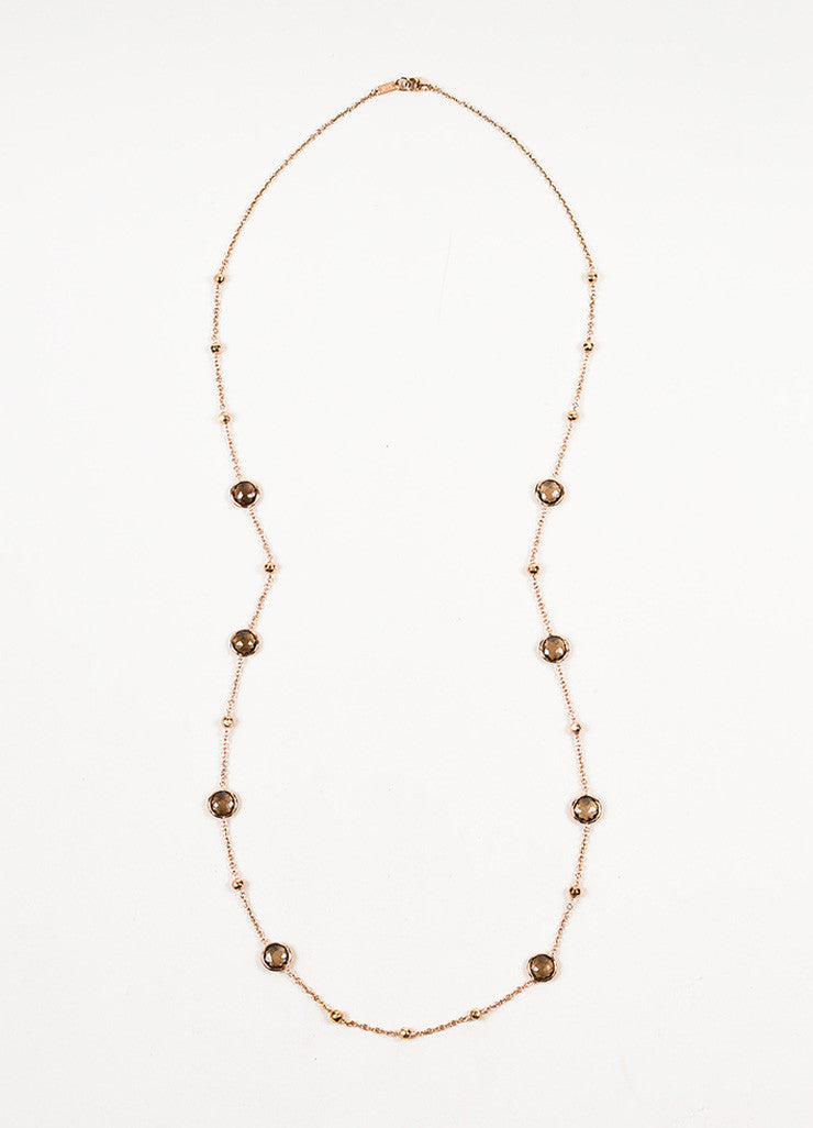 Ippolita Rose Gold Plated Sterling Silver Smoky Quartz 8 Station Chain Necklace Frontview
