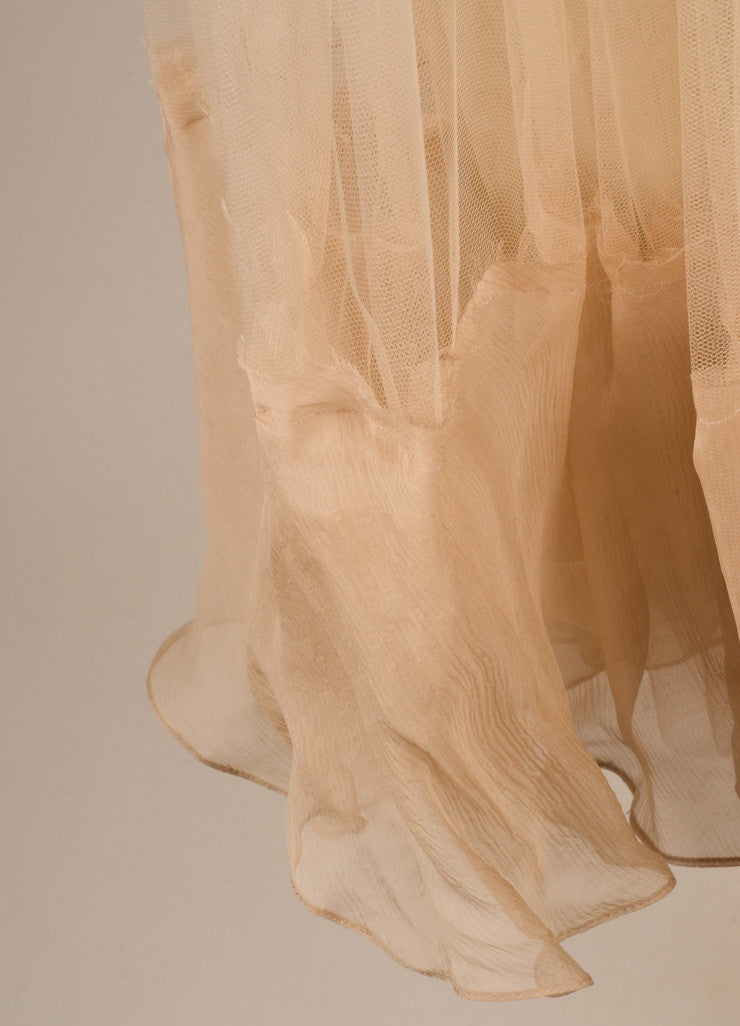 J. Mendel Nude Tulle Full Knee Length Skirt Detail