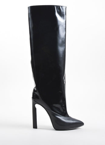 Jimmy Choo Black Glossy Leather Pointed Toe High Heel Tall Boots  Sideview