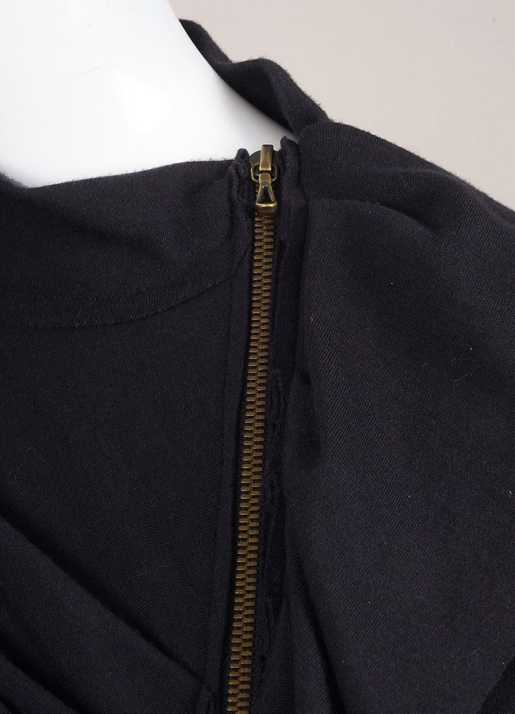 Lanvin Navy Blue Wool and Cashmere Ruffle Zip Long Sleeve Sweater Dress Detail
