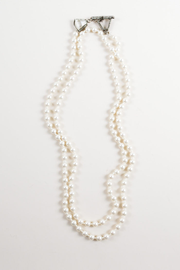 Lanvin White and Silver Toned Faux Pearl and Rhinestone Necklace Frontview
