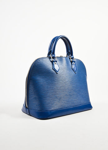 "Louis Vuitton Blue ""Blueberry"" Epi Leather ""Alma PM"" Satchel Bag sideview"