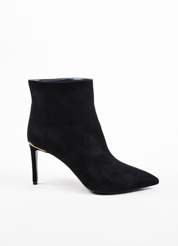 Louis Vuitton Black Suede Pointed Toe Heeled Ankle Booties Sideview